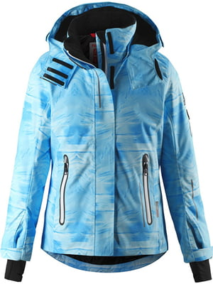 Куртка голубая в размытый принт | 5329535