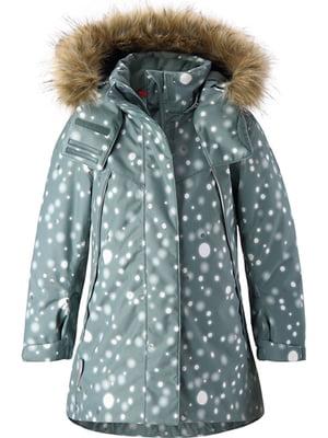 Куртка серо-зеленая в принт   5329565