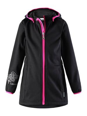 Куртка чорна в квітковий принт | 5329623