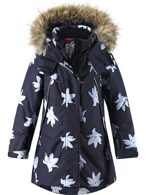 Куртка черная в цветочный принт   5329805