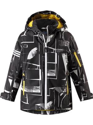 Куртка чорна в принт | 5330013