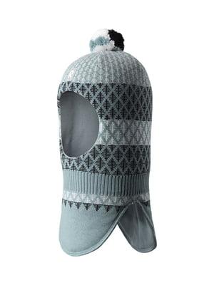 Шапка-шлем серо-зеленая с орнаментом   5330378