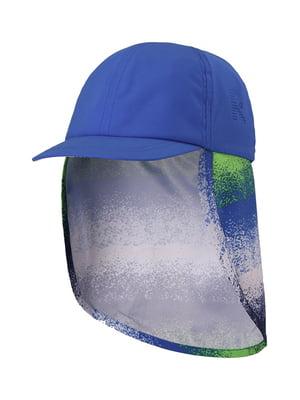 Бейсболка синя в принт | 5330614