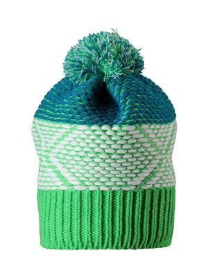 Шапка зеленая с узором | 5330823
