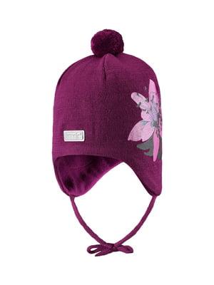 Шапка фиолетовая в цветочный принт | 5331259