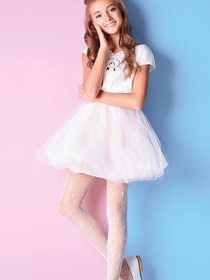 Колготки бело-розовые с декором (20 den) | 5327788