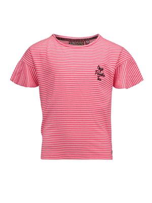 Футболка бело-розовая | 5340891