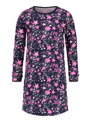 Рубашка ночная сине-розового цвета | 5340934