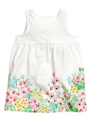 Сукня біла з квітковим принтом | 5340993