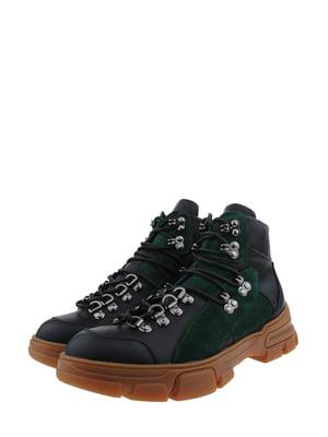 Ботинки черно-зеленые | 5341307