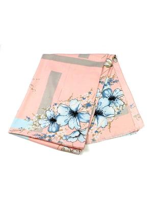 Шарф-палантин розовый с цветочным принтом | 5343358