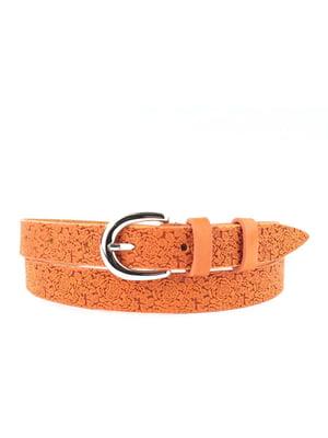 Ремень оранжевый с цветочным рисунком | 5344085