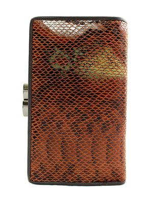 Гаманець коричневий з принтом | 5344311
