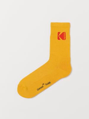 Носки желтые с принтом | 5346005