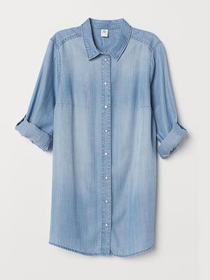 Рубашка джинсовая для беременных голубая | 5347535