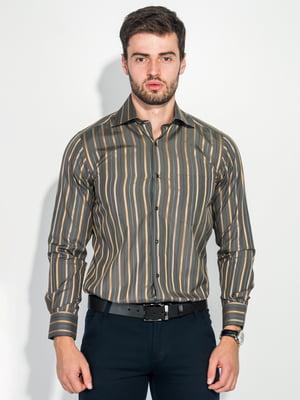 Сорочка кольору хакі в смужку | 5349171