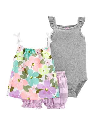 Комплект: боді, блуза і шорти | 5349352