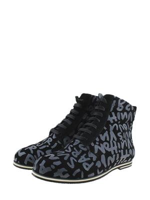 Ботинки черно-серые в принт | 5345582