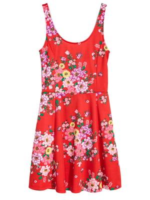 Сарафан червоний з квітковим принтом | 5351963
