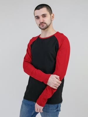 Лонгслів чорно-бордовий | 5351112