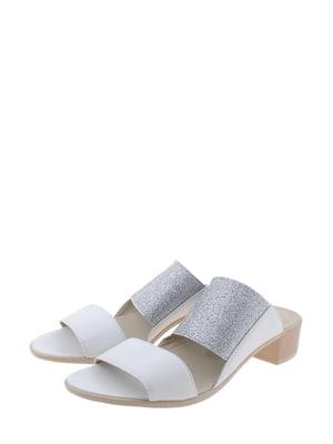 Шльопанці біло-сріблясті | 5350152