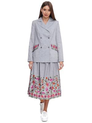 Жакет серый с цветочным принтом | 5340163