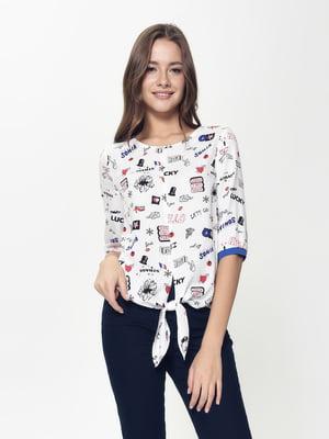 Блуза белая с принтом | 5355086