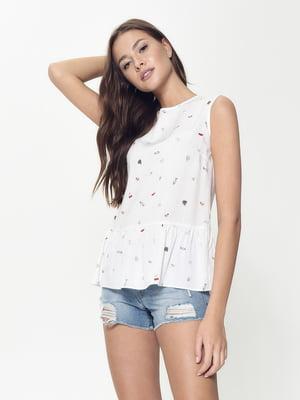 Блуза белая с принтом | 5355099