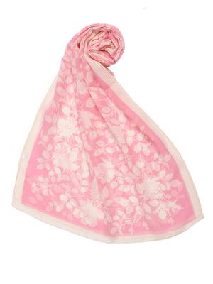 Шарф розовый в цветочный принт | 5357065