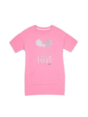 Туника розовая с принтом | 5356421