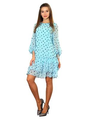 Платье голубое с принтом   5357949