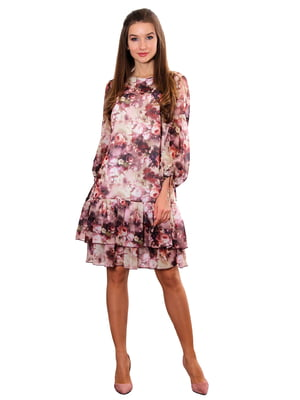 Платье вишневое с принтом   5357951