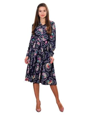 Сукня синя з принтом   5357952