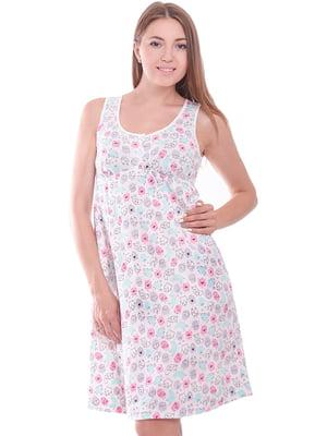 Ночная рубашка белая с принтом | 5358351