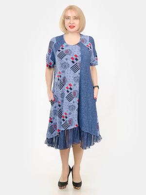 Сукня синя з принтом | 5358487