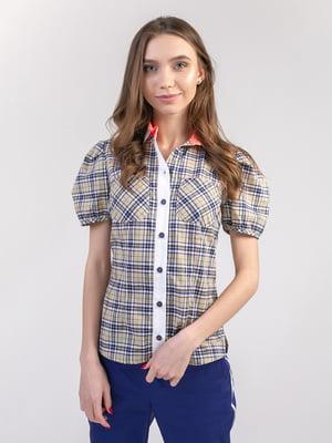 Блуза бежево-желто-синяя | 5347337