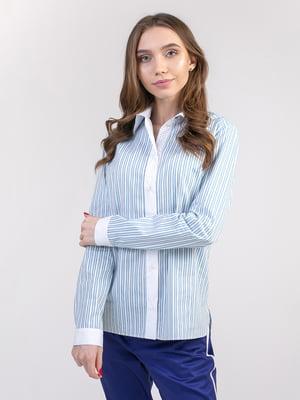 Блуза бело-голубая | 5347340