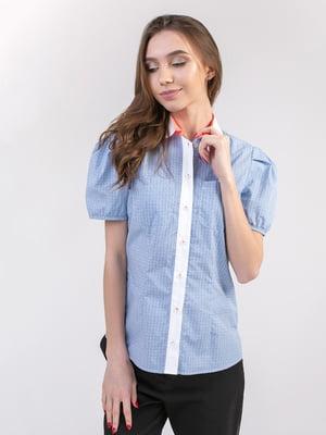 Блуза бело-голубая | 5347338