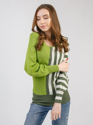 Джемпер зеленый в полоску | 5359166