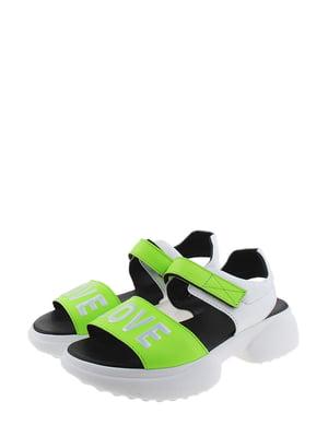 Босоніжки зелено-білі | 5359305