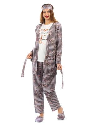 Піжама: кардиган, штани, футболка, пов'язка на очі і капці | 5361694