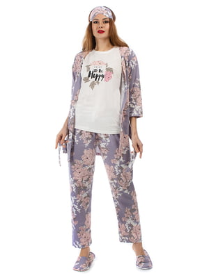 Пижама: кардиган, брюки, футболка, повязка на глаза и тапочки | 5361697