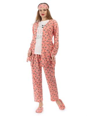 Пижама: кардиган, брюки, футболка, повязка на глаза и тапочки | 5361698