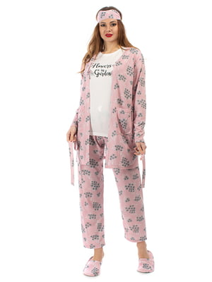 Пижама: кардиган, брюки, футболка, повязка на глаза и тапочки | 5361700