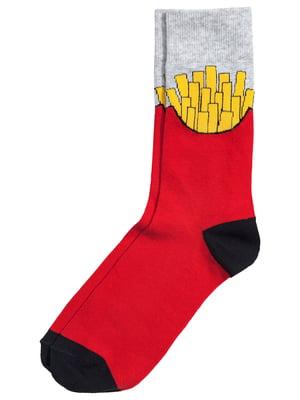 Шкарпетки сіро-червоні з малюнком | 5362410