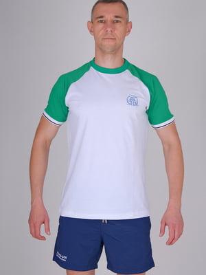 Футболка бело-зеленая с принтом   5362980