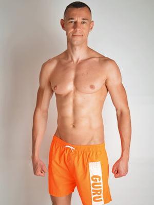 Шорты купальные оранжевые с принтом | 5363011