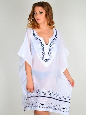 Туника пляжная белая с вышивкой | 5363124