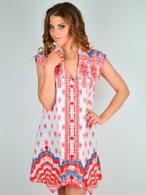 Платье пляжное красно-белое с принтом | 5363129