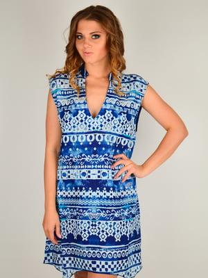 Платье пляжное синее с принтом | 5363133